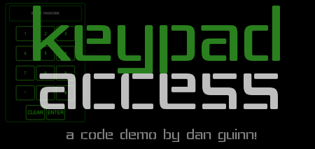 Keypad Access Code Demo